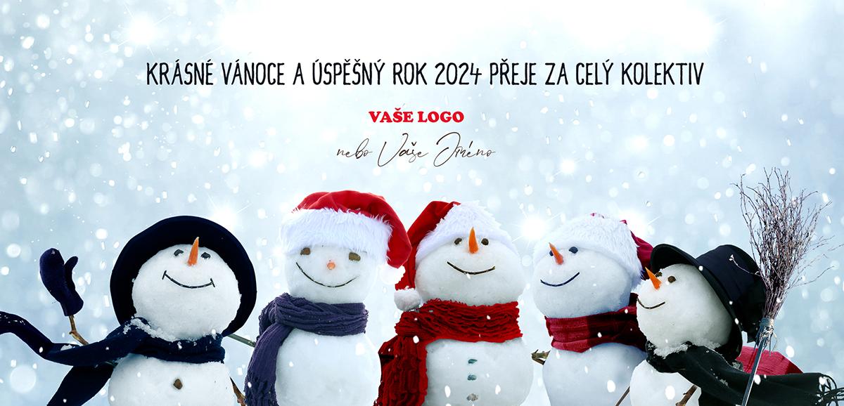Skupinová fotka pěti přátelských sněhuláků je dokonalý základ pro vtipnou firemní novoročenku.