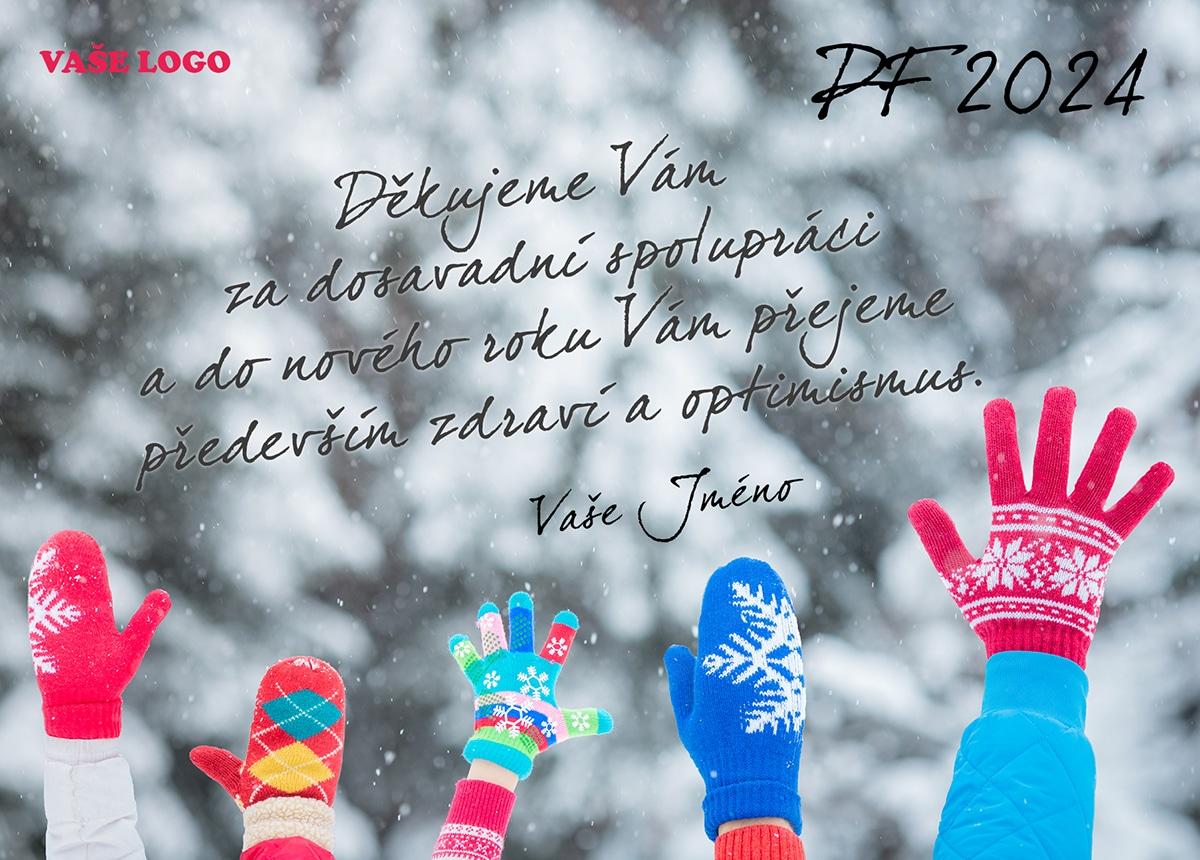 Mávající dětské ruce v různobarevných rukavicích vytváří dohromady skvělou firemní novoročenku.