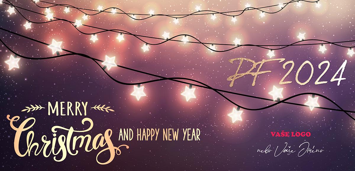 Vánoční přání rozzářenými světýlky ve tvaru hvězdiček odhalující hvězdnou oblohu zaujme.