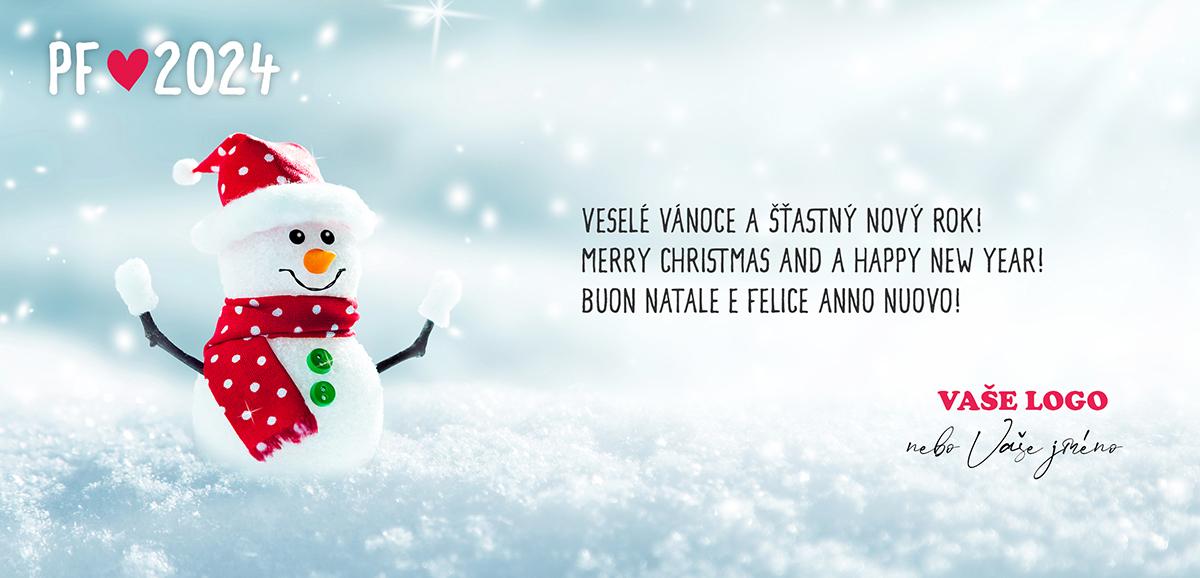 Vtipná zimní novoročenka s maličkým sněhulákem s červenou čepicí i šálou s bílými puntíky.