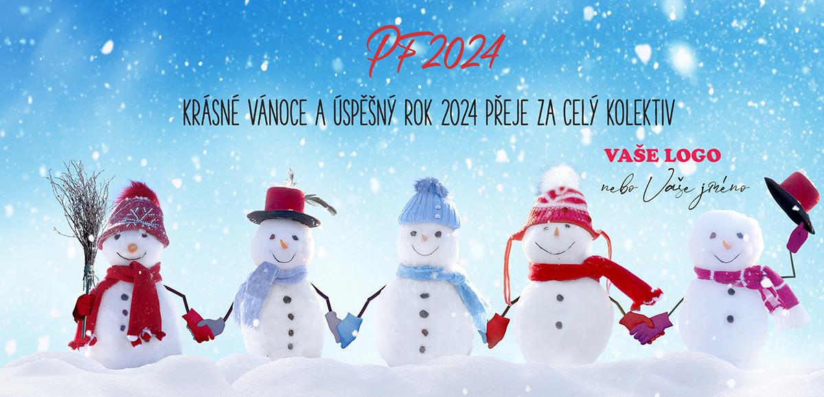 Firemní novoročenka s partou veselých sněhuláků držících se za ruce v kloboukách a čepicích.