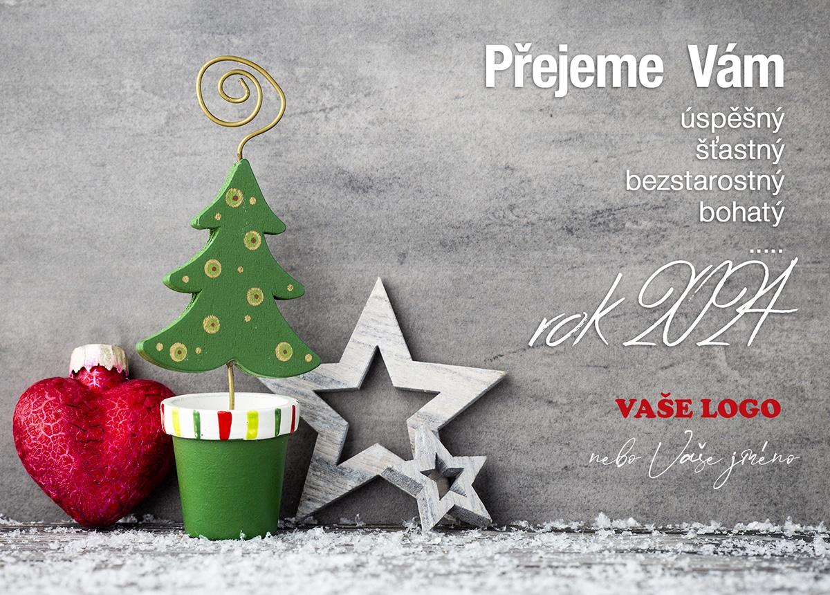 Vánoční přání s ručně vyráběnými ozdobami stromku v květináči, vánočních hvězd a srdce.