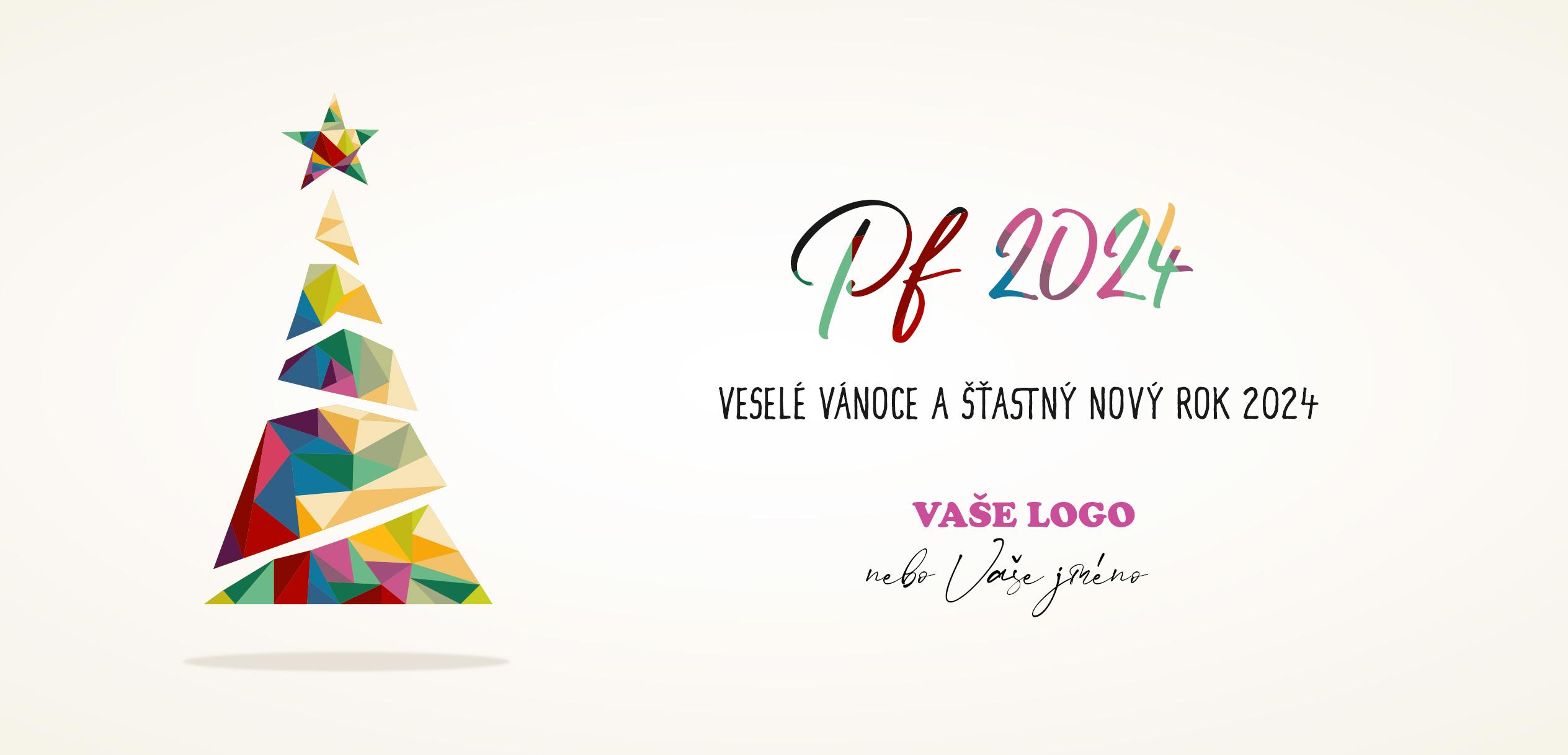Jednoduché vánoční přání s geometrickým stromečkem a PF ve veselých barvách na bílém pozadí.