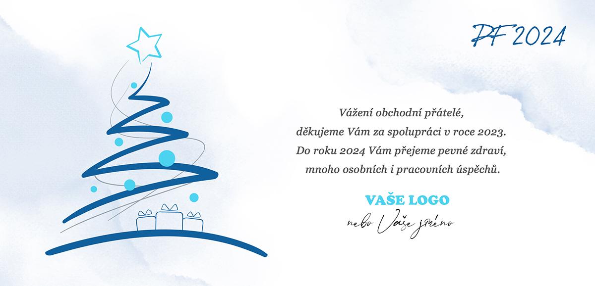 Vánoční přání s jednoduchou siluetou vánočního stromečku s dárky na pozadí v boho stylu.