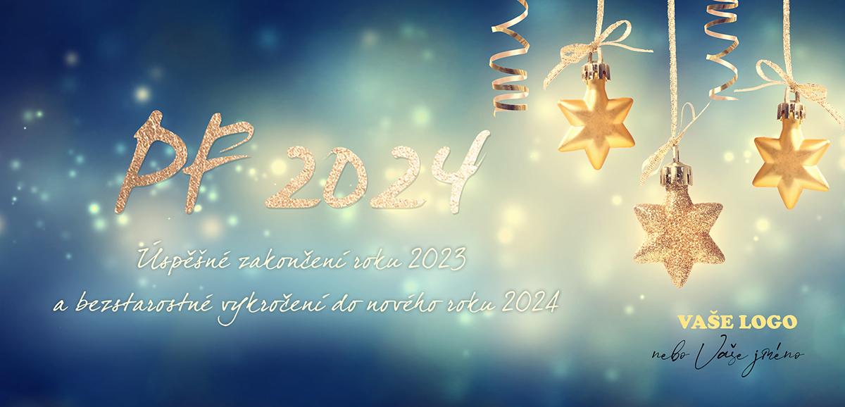 Třpytivé vánoční přání s dekorativními zlatými hvězdičkami zářícími do tmy.