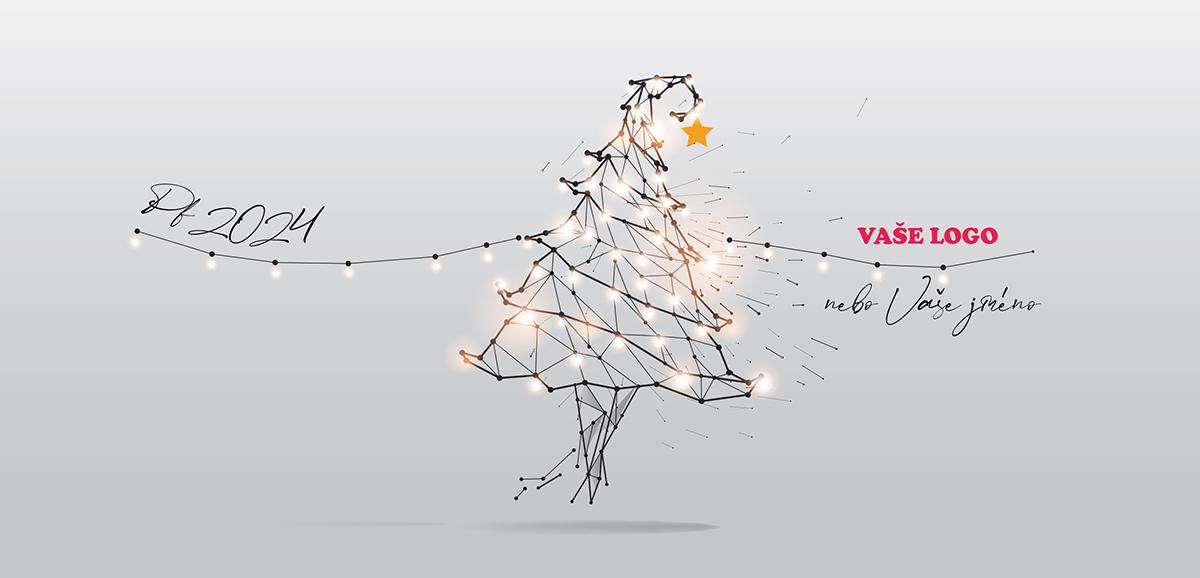Umělecky extravagantní vánoční přání s precizní kresbou roztančeného vánočního stromečku.