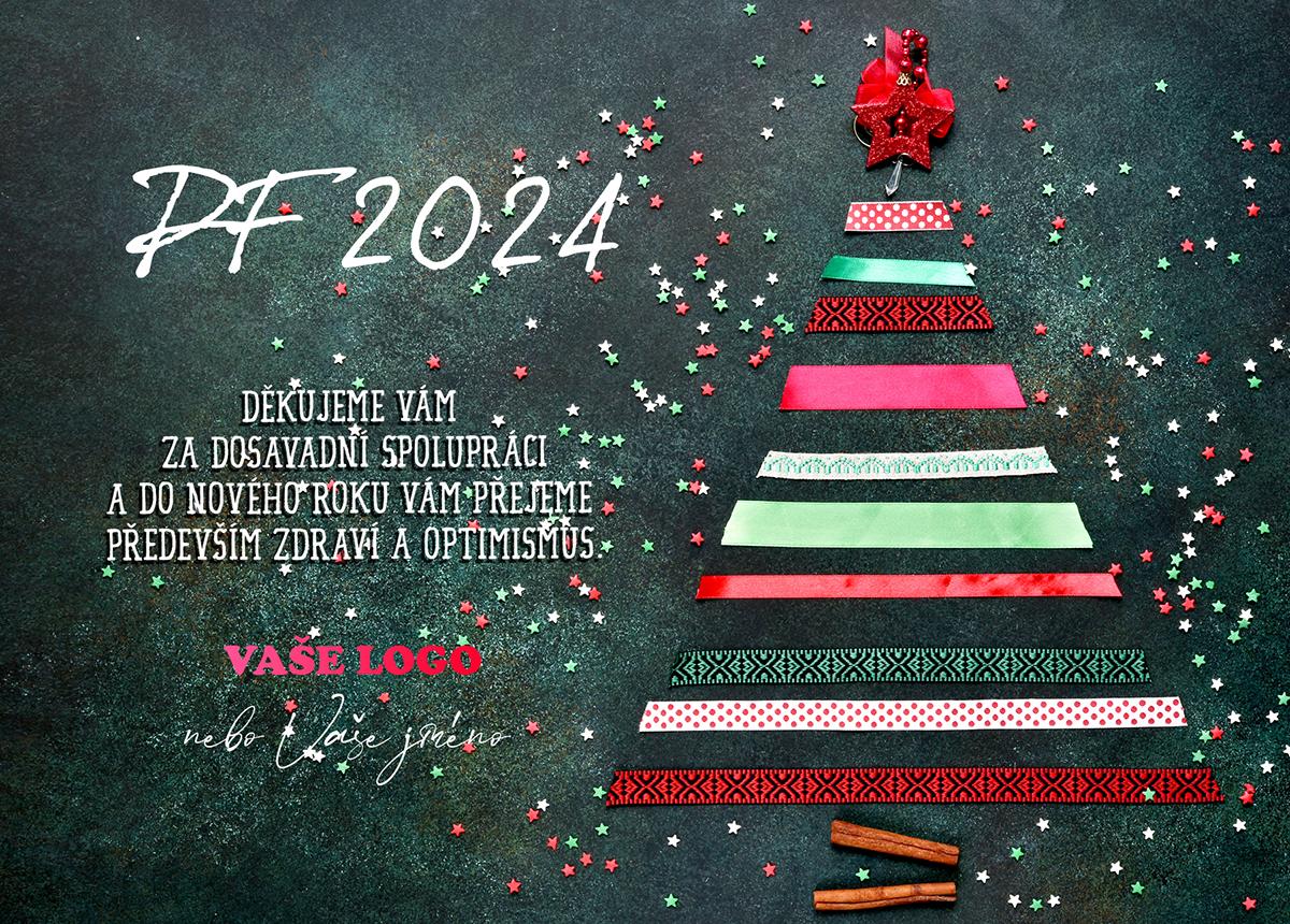 Kreativní barevná novoročenka s vánočním stromečkem z proužků různých dárkových stužek.